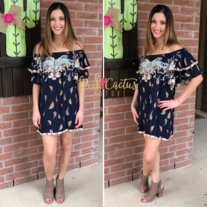 Navy Printed Off Shoulder Tunic Dress