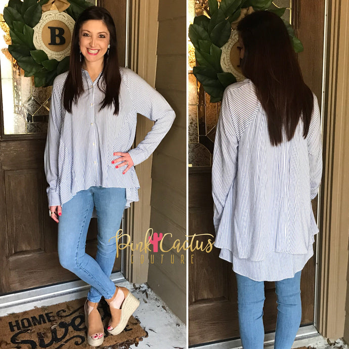 Blue and White Stripe Long Sleeve Button Up Top