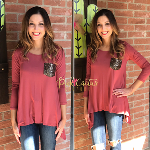 Rust Long Sleeve Top with Sequin Pocket
