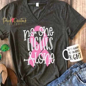 No One Fights Alone - Breast Cancer Awareness tee