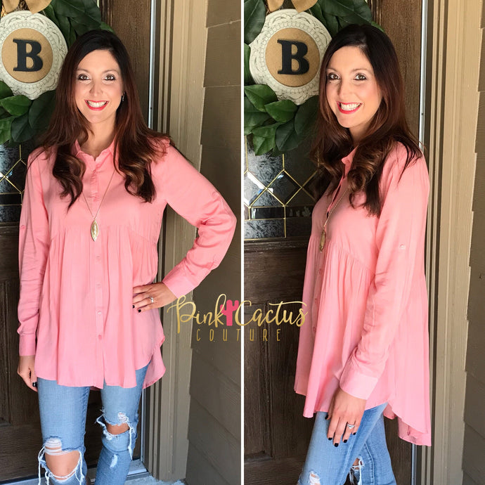 Coral High Low Button Up Tunic
