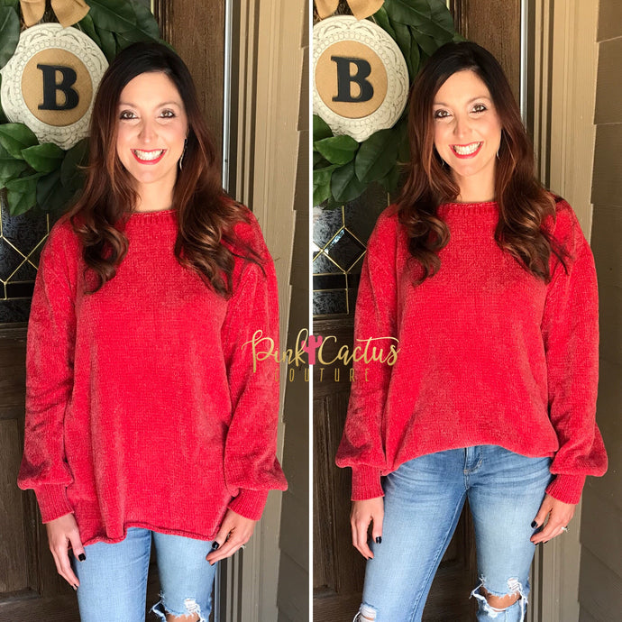 Vintage Red Chenille Oversized Sweater