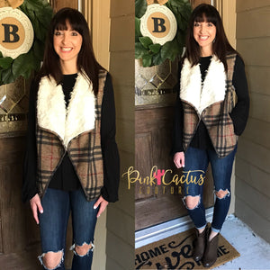Plaid Fur Lined Vest with Pockets
