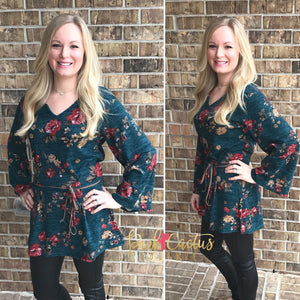 Floral Bell Sleeve Top with Suede Belt