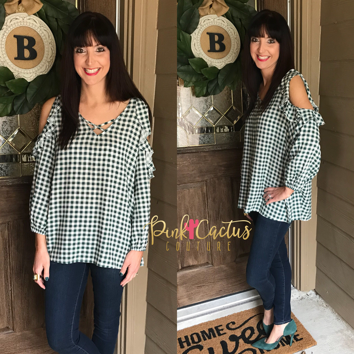 Hunter Green Gingham Cold Shoulder Top