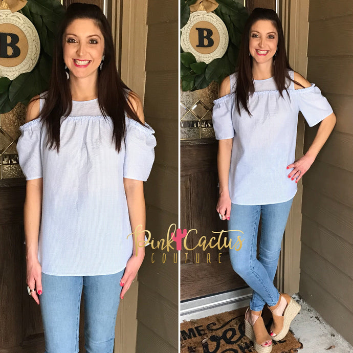 Light Blue Seersucker Cold-Shoulder Top
