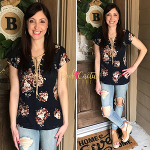 Navy Floral Top with Suede Lace Up Front