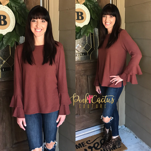 Marsala Bell Sleeve Sweater