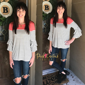 Coral and Black Stripe Ruffle Sleeve Top