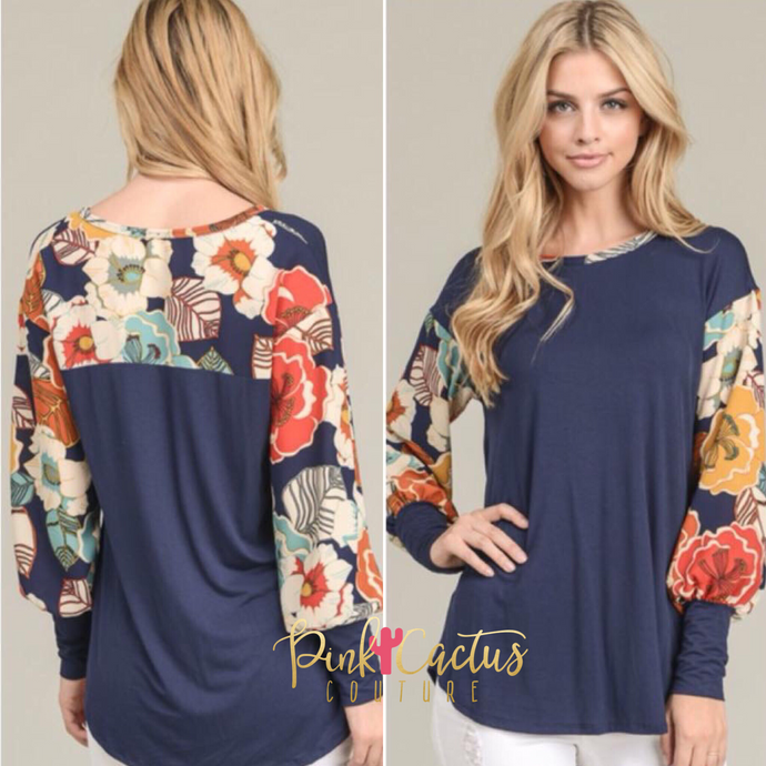 Navy Blue Floral Long Sleeve Top