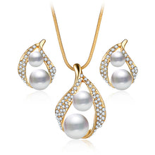 Luxury Pearl Jewelry Set with Necklace + Earrings