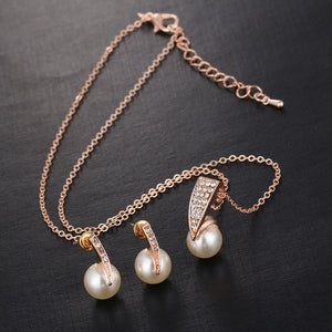 Pearl Jewelry Sets-Rhinestone Gold Color Necklace + Earrings