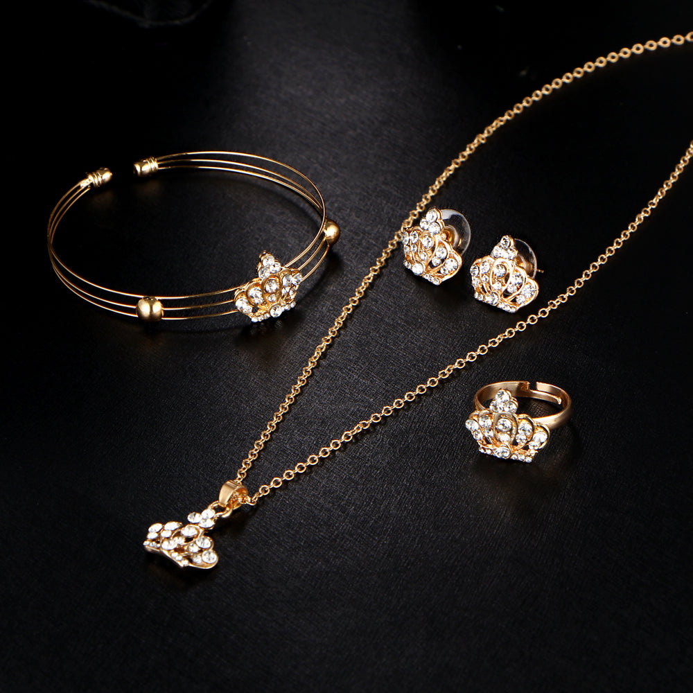 Gold Color Crown Bridal Jewelry Set Hollow Flower Necklace
