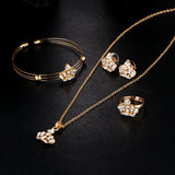 Gold Color Crown Bridal Jewelry Set Hollow Flower Necklace/Earrings/Ring/Bracelet 2017 Indian Wedding Accessorie For Woman