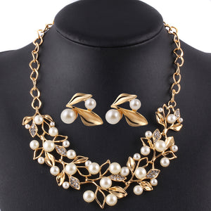 Gold Color Simulated Pearl Jewelry Set for Women Crystal Flower Necklace Earring Set parure bijoux Leaf  sieraden Sets