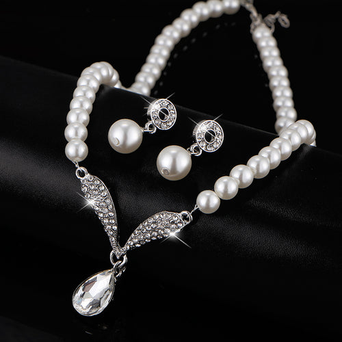 Pearl Water Drop Jewelry Set Necklaces Earrings Bracelet
