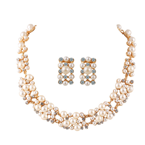 Pearl Jewelry for Women Crystal Flower Necklace Earring Set