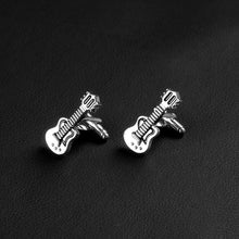 High Quality Brand Trendy Cufflinks New Guitar Musical Silver Black Enamel For Men Women Shirt