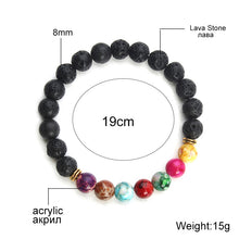 Natural Black Lava Stone Bracelet. 7 Reiki Chakra Healing Balance Beads Bracelet with Stretchy Yoga Jewelry