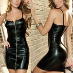 Summer Dress Women Sexy Party Club Dress Black PU Leather Latex Dress Zipper Exotic Bodycon Clubwear Straps Punk dress