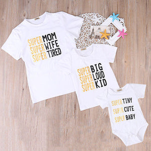 Latest brand white summer bear Newborn, Infant, Baby, adult, mama, Family Matching Set Romper T-shirt Tops Outfits Clothes