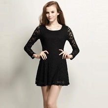 NEW Arrival fashion Women Dress full sleeve PLUS SIZE lace elegant pleated dress