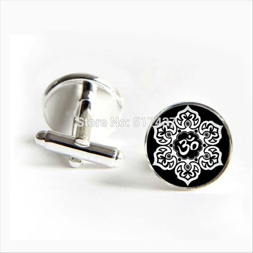 Lotus Flower Buddhist Holy Om Silver and Black Round Cufflinks