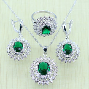 Original Silver 925 Stamped. Green Rhinestone, White Crystal Silver color Jewelry Set, Bracelet / Necklace / Earrings / Ring / Pendant