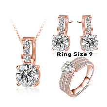 New Arrival Wedding Jewelry Set, Silver Color Cubic Zircon Necklace / Earring / Ring Set.