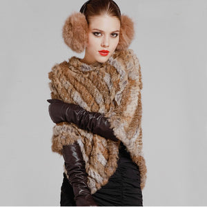 Fur Poncho 2018 Autumn Real Rabbit Knitted Women Pullover Lady Pashmina Wrap cape
