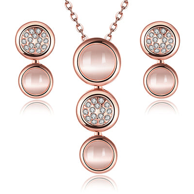 Opal Jewelry Sets. Rose/Gold/Silver Plated Chain Necklace Earrings