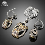New Elegant Leopard Pattern Jewelry Set Round CZ Cystal Necklace and Earrings Jewelry Set