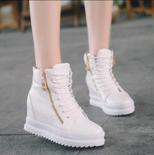 High Top Women Casual Shoes. Platform Hidden Increasing Shoes Breathable Women New Shoes Ankle Boots Wedge Shoes