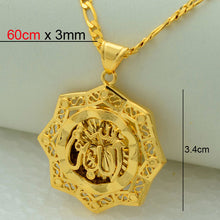 Allah Pendant Necklace Islamic Arabic Gold Color Jewelry Muslims