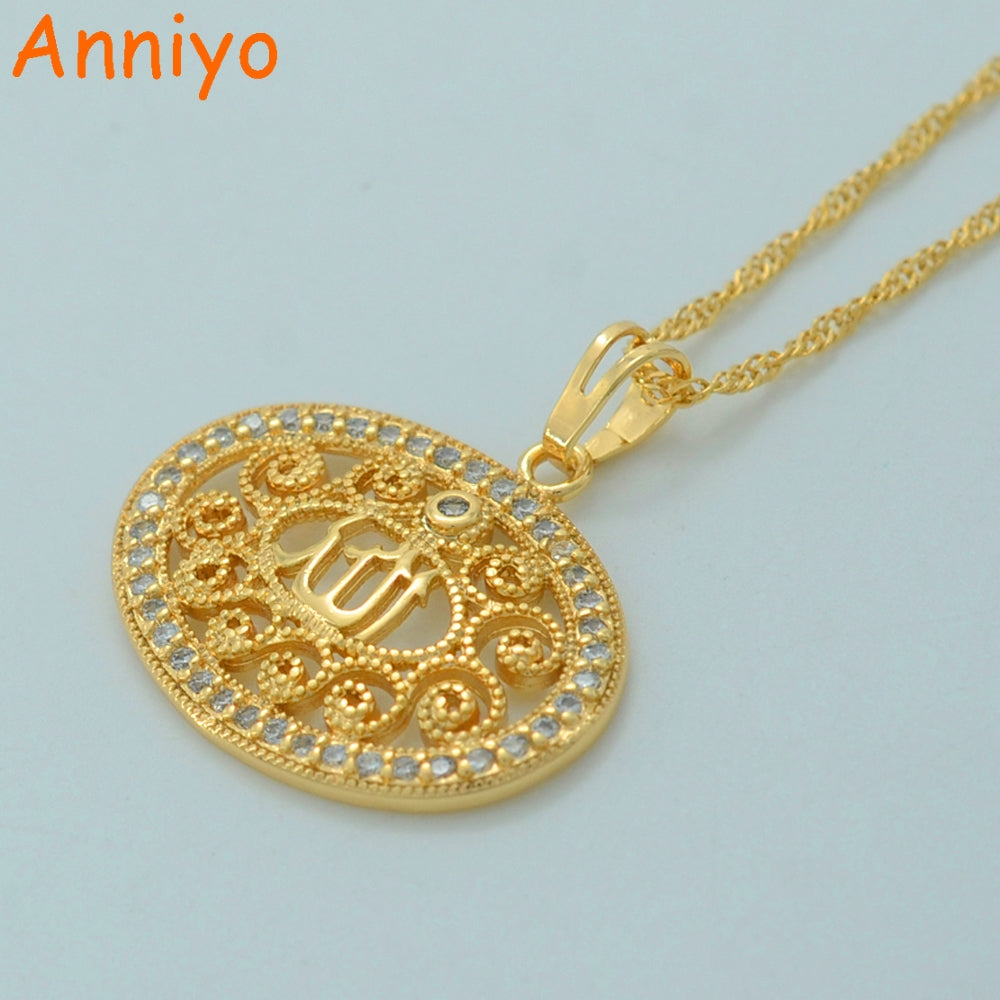 Gold Color Zirconia Allah Necklace, Islam Product Jewelry Arab Muslim Pendant