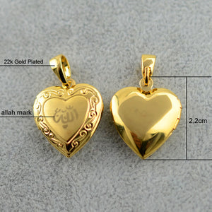 Heart Allah Necklace Pendant for Women Muslim Jewelry, Gold Color Chain Necklace