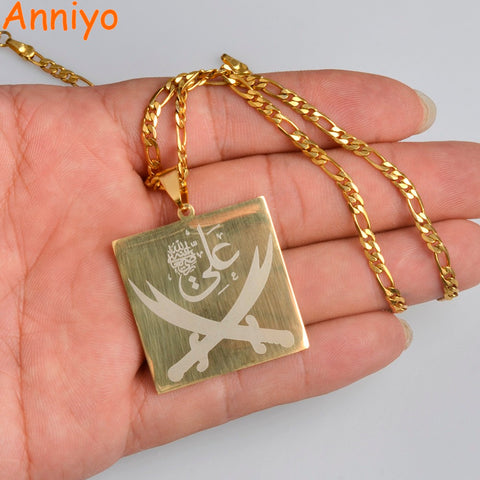 IMAM ALI Sword Pendant Necklace Muslim Islamic Jewelry Gold Color Arabic