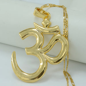 India BIG OM Necklace Pendant Hindu Buddhist Hinduism Gold Color Chain Jewelry