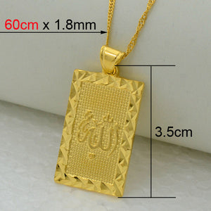 Islamic Pendant Necklace Gold Color Jewelry Middle East / Muslim / Islamic