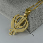 Sikhism Necklace Pendant Sikh Khanda Jewelry Gold Color Sikhs Necklace