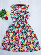 New Floral Dress Sleeveless Round Neck Printed Plus Size Chiffon comfortable Dress