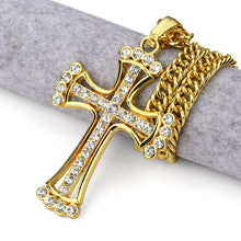 Catholic Church Silver Cross Necklace Rhinestone Chain Men / Women Religious Christian Crystal Jewelry