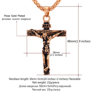 Cross Necklace Gold/Rose, Gold/Black Gun Color Stainless Steel Chain Jewelry