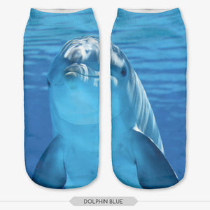 Cute 3D Blue Dolphin Picture Low Ankle Socks Length 19cm