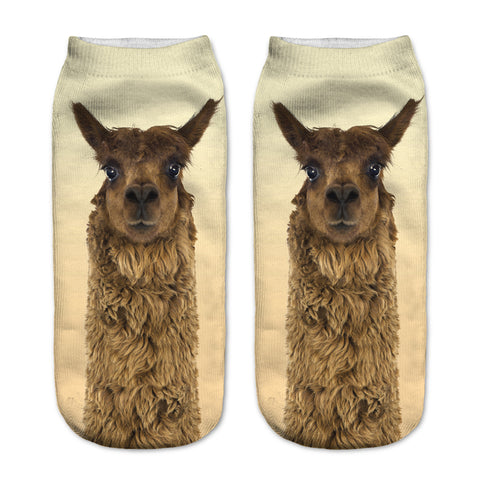 Cute 3D Brown Alpaca / Lama Picture Low Ankle Socks Length 19cm