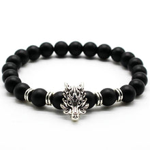 Antique Silver Animal Wolf Head Bracelet Unisex Jewelry, Black Frosted Volcano Lava Stone Beads Bracelet