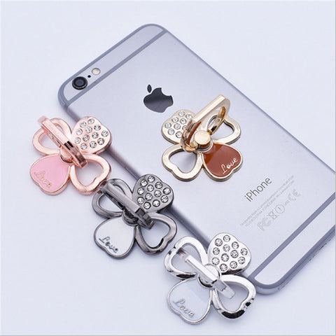 Cute Metal Cell Phone Crystal LUCKY Clover Holder Round 360 Ring Stand Finger Bracket Grip Socket Mount