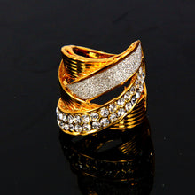 ERLUER Fashion Gold color Austria rhinestone classic Flash piece rings woman Wedding Cross the branch rings party unique Jewelr