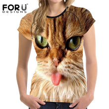 Women Casual Fashion T Shirt Cute 3D Cat Short Sleeved Shirts Elastic Material