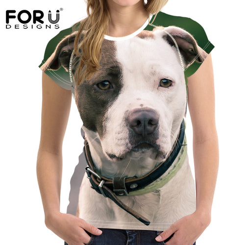 Women T Shirt Cute 3D Bull Terrier Dog T-shirt 2017